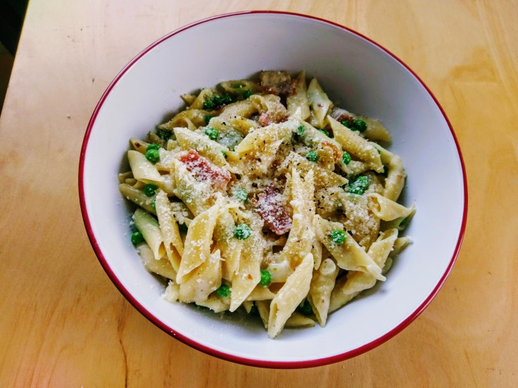 penne-pasta-bacon-peas-1